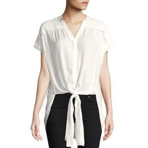 NWT H by Halston White Tie Front Blouse